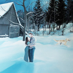 Oil painting of marriage proposal done as custom commission